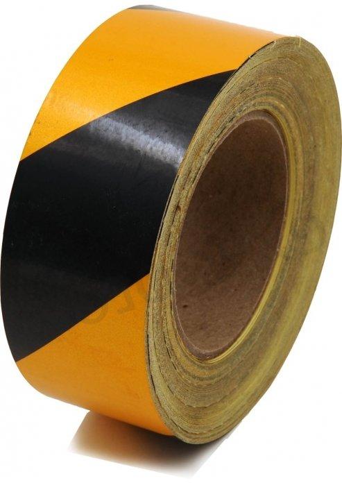 סרט סימון מחזיר אור צהוב  שחור 25 מטר