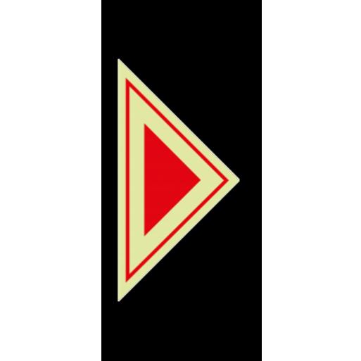 שלט חץ משולש אדום קטן פולט אור