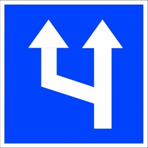 תמרור 620 תמרור שינוי במספר הנתיבים מספר הנתיבים בכביש הולך וגדל משמאל
