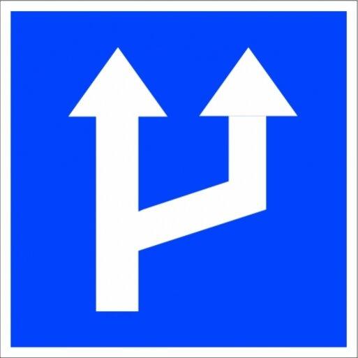 תמרור 619 שינוי במספר הנתיבים מספר הנתיבים בכביש הולך וגדל מימין