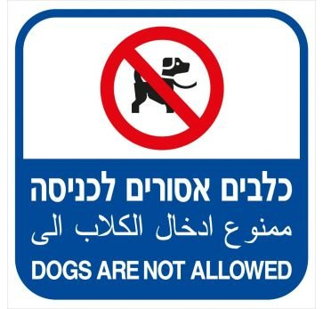שלט כלבים אסורים לכניסה לבריכות שחיה 3305